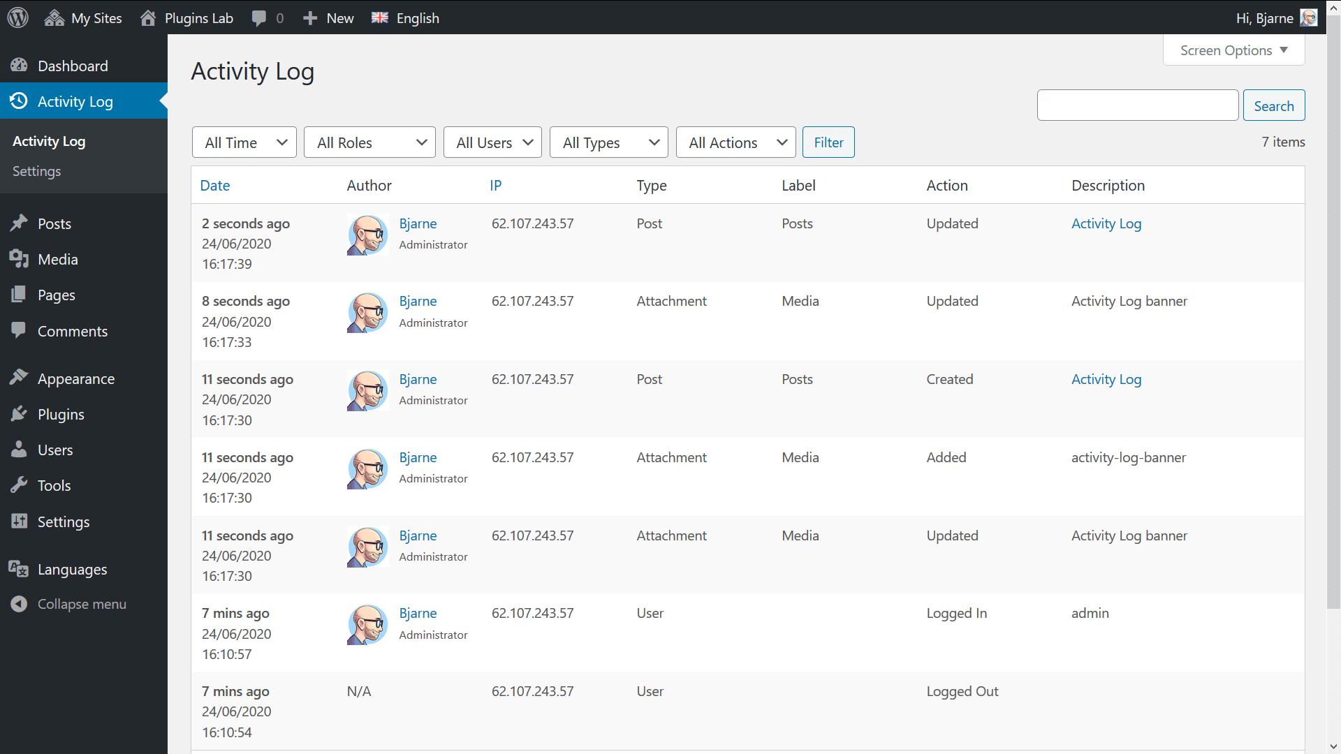 Activity Log screenshot