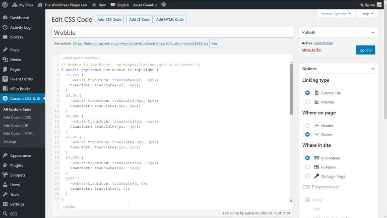 Simple Custom CSS and JS screenshot